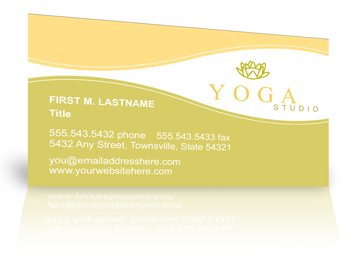 Business card printing make a great impression example business card with a yoga design accmission Choice Image