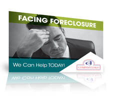 sample postcard template showing a man with a furrowed brow and a facing foreclosure headline