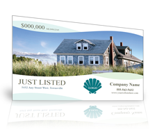 example of a just listed postcard template showing a beach house with a shell theme