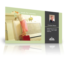 Keller Williams postcard featuring a child in a remodeled bathroom