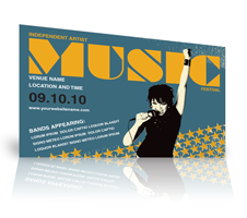 marketing mailer template promoting a music concert