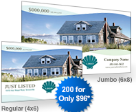 custom just listed postcards in regular and jumbo usps mailing sizes