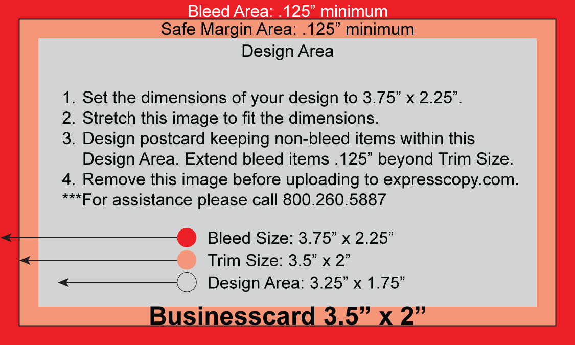 Business card print specifications expresscopy bleed business card accmission Choice Image
